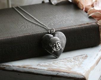 Buddha necklace, buddha charm necklace, photo locket necklace, silver heart locket, silver locket necklace, Buddhism jewelry- Spiritual