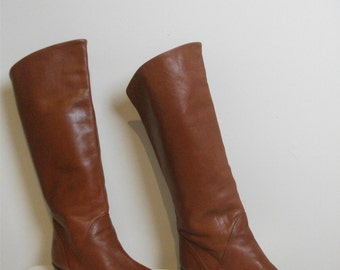 80s Cognac Brown Leather Campus Boots, Size 7