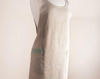 Linen Apron, Crisscrossed apron, Japanese style apron, 100% Linen, Natural rustic color, Full apron, Middle Weight (5.3 oz/yd2).