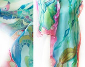 Hand Painted Silk Scarf Sea Horses and Sea Turtle Ready to Ship