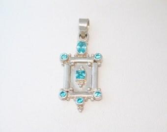 Blue topaz gem Sterling silver 2-D vintage ornate bead ball picture frame door rectangle design necklace pendant