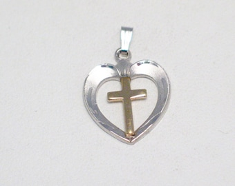 sterling silver gold plated cross open heart god jesus faith love theme bracelet charm or necklace pendant fine jewelry