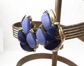 Blue Thermoset Earrings, Light Blue and Dark Blue Earrings, Silver and Blue Earrings, Navy Blue Earrings, Cornflower Blue Leaf Earrings