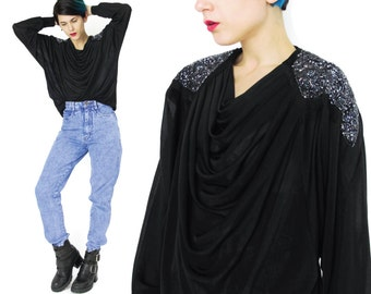 80s Beaded Blouse Black Draped Long Sleeve Top Beaded Shoulders Cowl Neck Blouse Sequins Glam Evening Party Disco Embellished Shirt E134