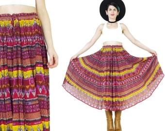 Vintage Indian Cotton Skirt Pink Striped Gauze Maxi Skirt Gypsy Hippie Skirt Plus Size Broomstick Skirt Crinkle Folk Drawstring Waist (XL)