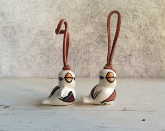 Two Acoma pottery miniature bird ornaments by M Sarracino Native American Christmas decor