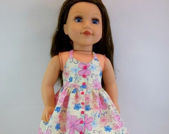18 inch  Doll  Dress Fits American girl Doll Pale Yellow  Halter Dress Pink and Blue Flowers Toys