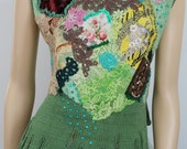 Shabby chic Romantic Hand knit Embroidered Beaded Top, Tunic, Blouse Sweater , Art to wear, Textile  Collage ,Wearable Art Size L - XL