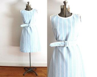 1960s Dress / 60s Light Blue Plaid Geometric Mod Dress