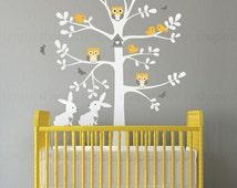 Wall Decal Nursery, Tree wall decal, Tree with animals, Easter Bunny Decal - Owl Rabbit Bird Tree Wall Decal - W1123