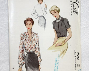Sz 14 Bust 32 Vintage 40s McCall's Printed Sewing Pattern 7592 Blouse with Pointed Collar and  Sleeve Variations 1949
