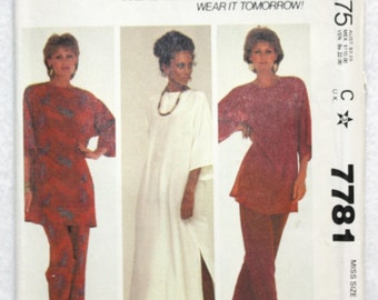 """Sz Small 10-12  McCall's Make it Tonight  Sewing Pattern 7781 Pullover Tunic and Pants for Knits and Wovens  Bust 32.5"""" - 34"""""""
