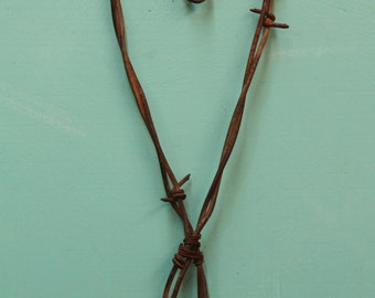 handmade smaller rusted barbed wire heart