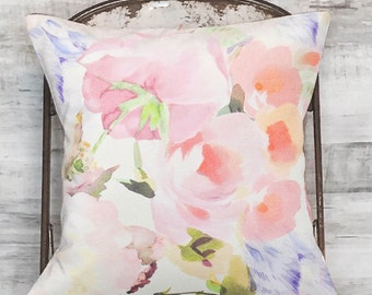 Pillow Cover Blush and Blue Floral No. 1