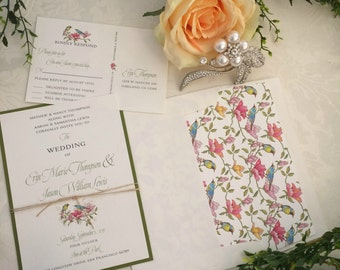 Vintage Birds and Flowers Wedding Invitation Set in shades of Pink, Turquoise, Green & Ivory