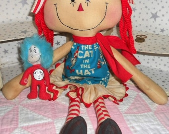 CaT In ThE HaT AnNiE WiTh ThInG 1 Dr. SuEss DoLL HaNdMaDe Primitive RAGGEDY ANN/ANNIE  Hafair