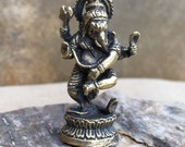Brass Ganesh Dancing Ganesha Statue Tiny Altar Deity Travel Altar Pocket Statuette Portable Meditation Deity Lord Ganesh