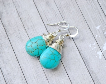 Bright Blue Turquoise Earrings, Simple Silver Wire Wrapped Teardrops Faux Turquoise Jewelry, Dark Aqua Drops