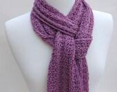 Alpaca & Wool Scarf- Hand Knit/ Mauve/ Cream