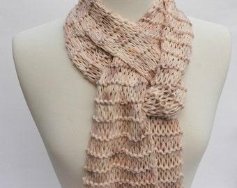 Cotton Scarf- Hand Knit/ Pale Pink, Mauve