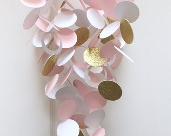 Baby Mobile in Glittery Gold, Light Pink and White, Custom Mobile, Modern Baby Mobile, Customized, Baby Nursery Decor, Baby Shower