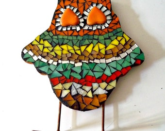 Mosaic Fiesta Owl, Stained Glass and Mirror - 7 x 6 Inches