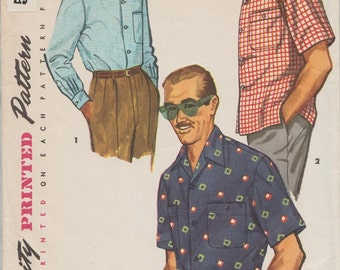 Simplicity 4981 / Vintage 50s Mens Sewing Pattern / Mans Shirt / Size Large / Chest 42 to 44