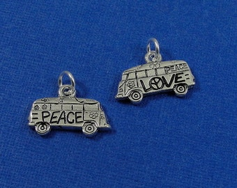 Hippie Van Charm - Silver Plated Love and Peace Hippie Van Charm for Necklace or Bracelet