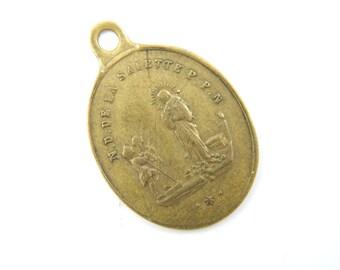 Antique Notre Dame de La Salette Catholic Medal - Our Lady of La Salette - Crying Virgin Mary Religious Charm - V81
