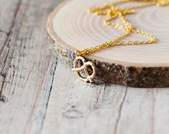 SALE -50% OFF. Pretzel Charm Necklace. Pretzel Pendant Necklace. Cute Food Necklace. Gold Charm Necklace.