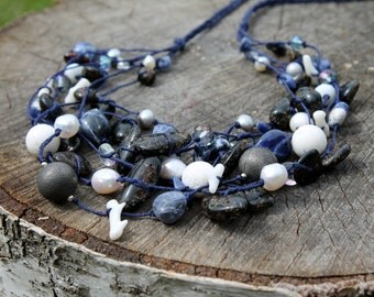 Lapis Lazuli Necklace Sodalite Royal Blue necklace White Coral Cleopatra Necklace Navy Blue Jewelry Gemstone Jewelry