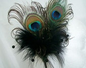 Black Peacock Feather & Crystal Pearl Burlesque Vintage Gothic Steampunk Wedding Fascinator Hair Comb - Made to Order