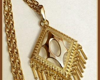 Gold Tone Chain Pendant Necklace, Mod, Diamond Shape, Dangle, Cut outs,  Vintage 1980's