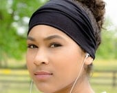 Workout Headband Yoga Headband Black Womens Headband Stretchy Head Wrap Exercise Headwrap Knit Headscarf Black Yoga Headwrap (#1101) S M L X
