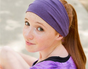 Headband for Big Head, Plum Purple Hair Band, Workout Headscarves, Workout Bandana, Plum Purple Daughter Gift (#1206) S M L X