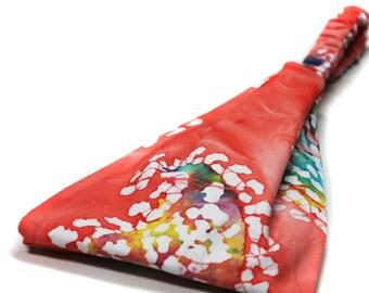 Peach Batik Headband Women's Headwrap Peach Head Wrap Batik Headscarf Wide Hair Band Hippie Headband (#4164) S M L X