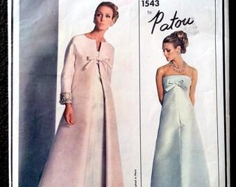 Vintage Vogue 1543 1965 Patou Strapless Evening Gown and Coat Sz 12 B32
