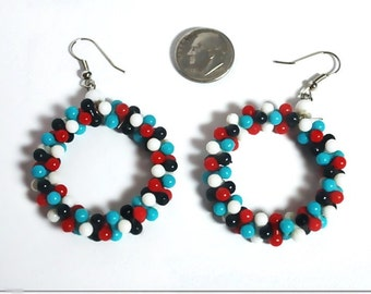 Vintage Glass Bead Loop Earrings in Turquoise Red Black & White 60s 70s