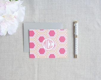 Hexagon Pattern | Monogramed Stationery | Set of 10 Personalized Folded Note Cards | Gift for Her | Modern Geometric Pattern