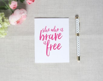 She Who Is Brave | Inspirational Greeting Card | Breast Cancer Awareness | Flamingos for a Cure | Blank Greeting Card | Encouragement Gift