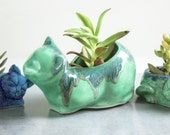 Ceramic mama cat planter, pencil holder, succulent air plant, mint green blue, cat lover, mom hostess gift, graduation gift