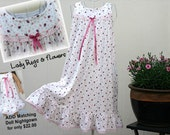Girls' NIGHTGOWN-Size 8 // 100% Cotton-Knit // READY to SHIP // Pink Lady Bug Dress, Tea Length (see sizes 4/5, 6, 10 also)