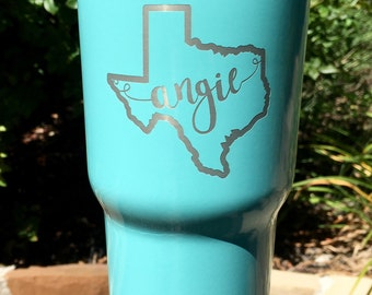 State monogram RTIC, YETI vacuum insulated tumbler, powder coated and laser engraved, custom, personalized tumbler