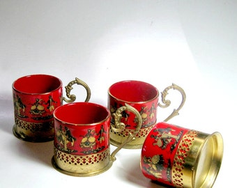 Brass Handle China Teacups, Vintage Brass Handle China Demitasse Cups, Vintage Demitasse Cups, Four German Red China Brass Handle Teacups