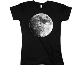 Womens Moon Tshirt - Black Moob shirt -  Organic Cotton - Ladies - Full Moon - Made in USA - XS, Small, Medium, Large, XL, 2X, 3XL