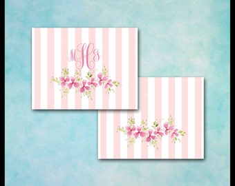 Pink & White Note Cards / 10 Cards / Feminine / Shabby Chic / Romantic Floral / Stripes and Flowers / Monogram or Name / Made to Order