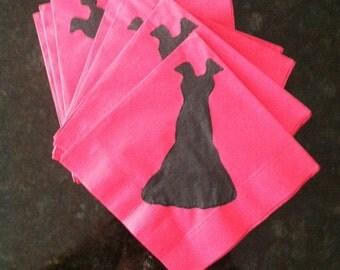 Little Black Dress on Pink Paper Cocktail/ Lunch/ Dinner Napkins
