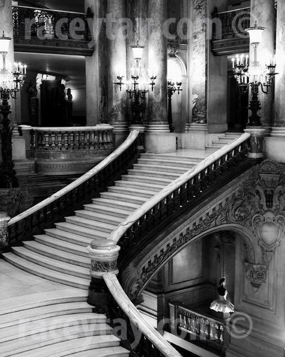 Paris Photography, Opera House, Grand Staircase, Black and White Travel Photography, Opera Stairs, Architecture Decor