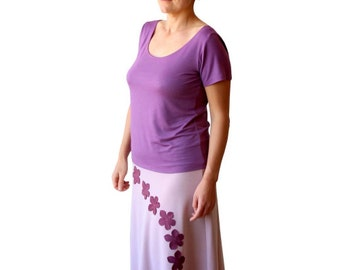 Plus size clothing, Scoop neck top, Short sleeve top, Lilac top, Viscose t shirt, Plus size summer top, 3/4 sleeves top, Long sleeve top