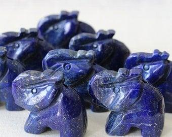 Carved Stone Elephant Bead - Lapis Lazuli Elephant - Wildlife Beads - (1 bead) 23x21mm
